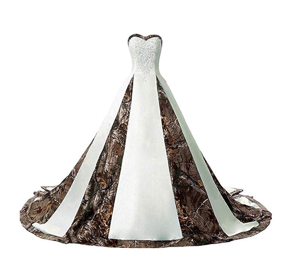 Bivory Kaitaijidian Kai Women's Straps Camouflage Wedding Dresses for Bride Long Camo Bridal Gowns Plus Size