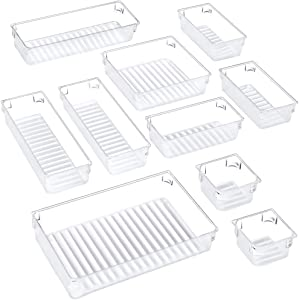 Puroma 10-pcs Desk Drawer Organizer Trays, 5 Different Sizes Large Capacity Plastic Bins Kitchen Drawer Organizers Bathroom Drawer Dividers for Makeup, Kitchen Utensils, Jewelries and Gadgets