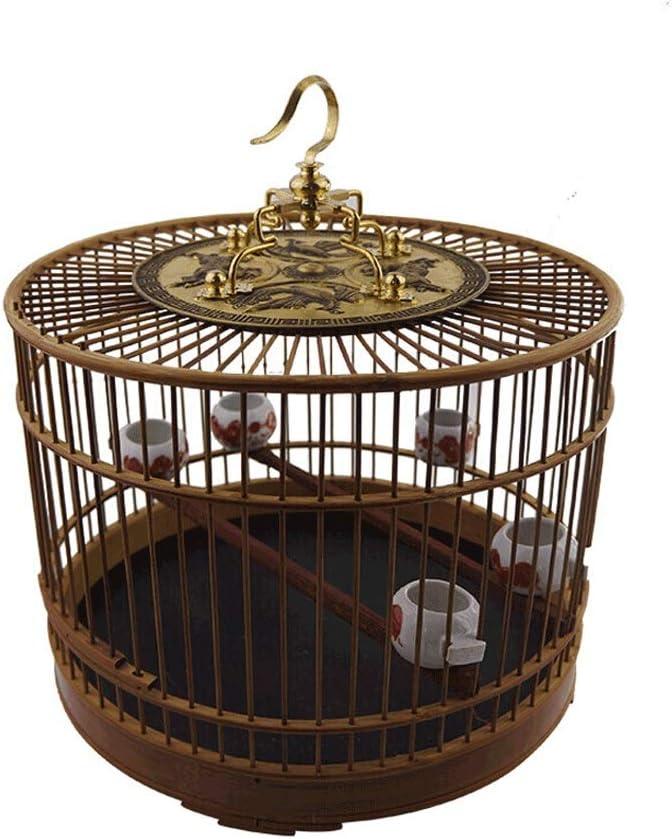 Ffshop Jaula para Pájaros Jaula de pájaros de Material de bambú con Gancho para Uso en Interiores y Exteriores Jaula de pájaros de Estilo Chino de Villa de Estilo Chino Vintage Grande pajarera