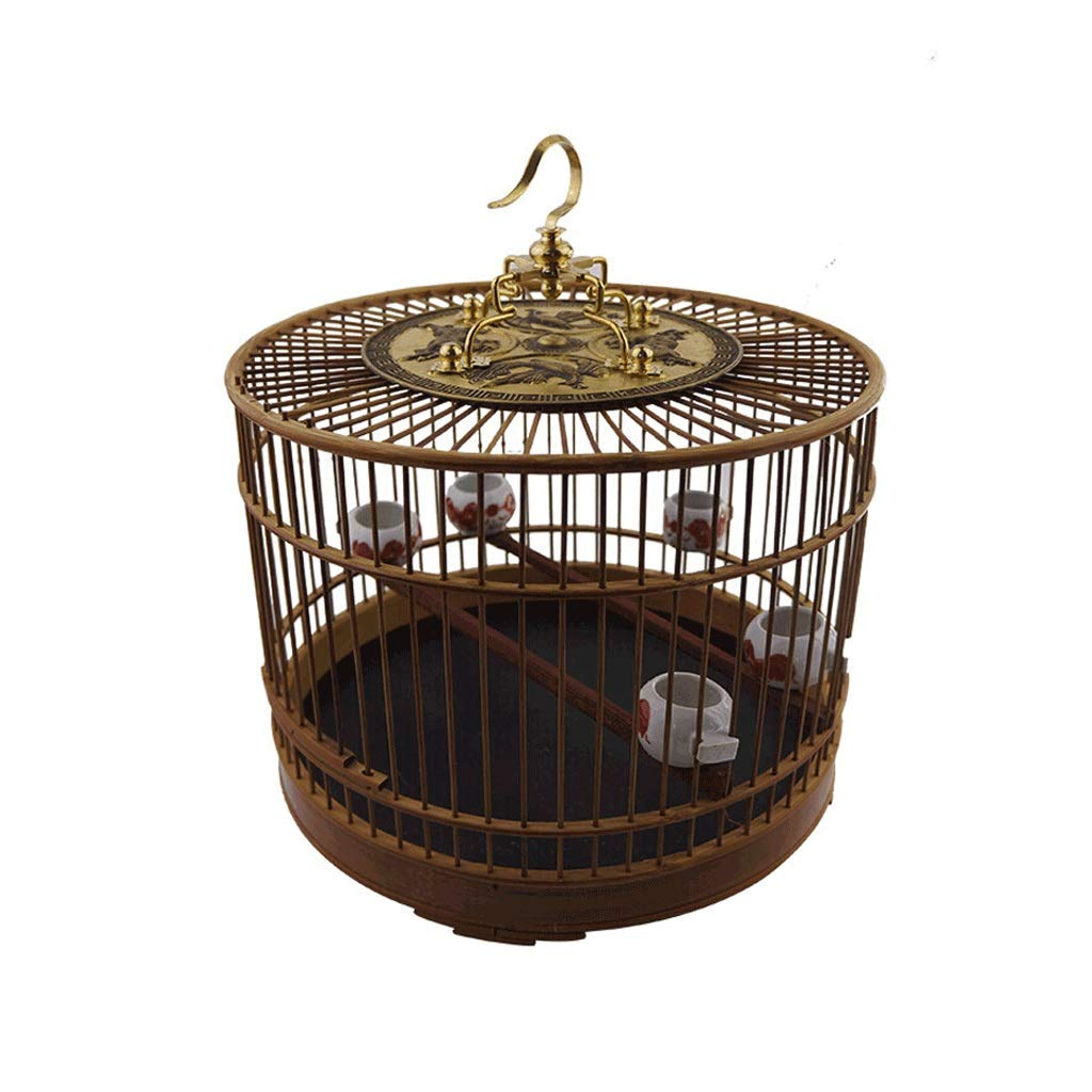 Birdcage Featured Bamboo Material Birdcage with Hook Indoor and Outdoor Bird Villa Chinese Style Vintage Bird Cage Base by ZWS Bird Cage