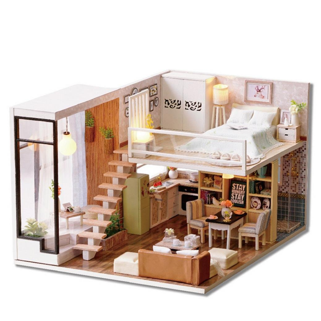 DIY Wooden Dolls House, Amphia DIY 3D Princess Dollhouse