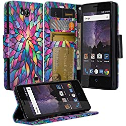 ZTE Majesty Pro Case, ZTE Tempo Case, Luxury PU Wrist Strap Leather Wallet Flip Protective Case Cover with Card Slots and Stand for ZTE Majesty Pro Z799VL / ZTE Tempo N9131 - (Rainbow Flower)