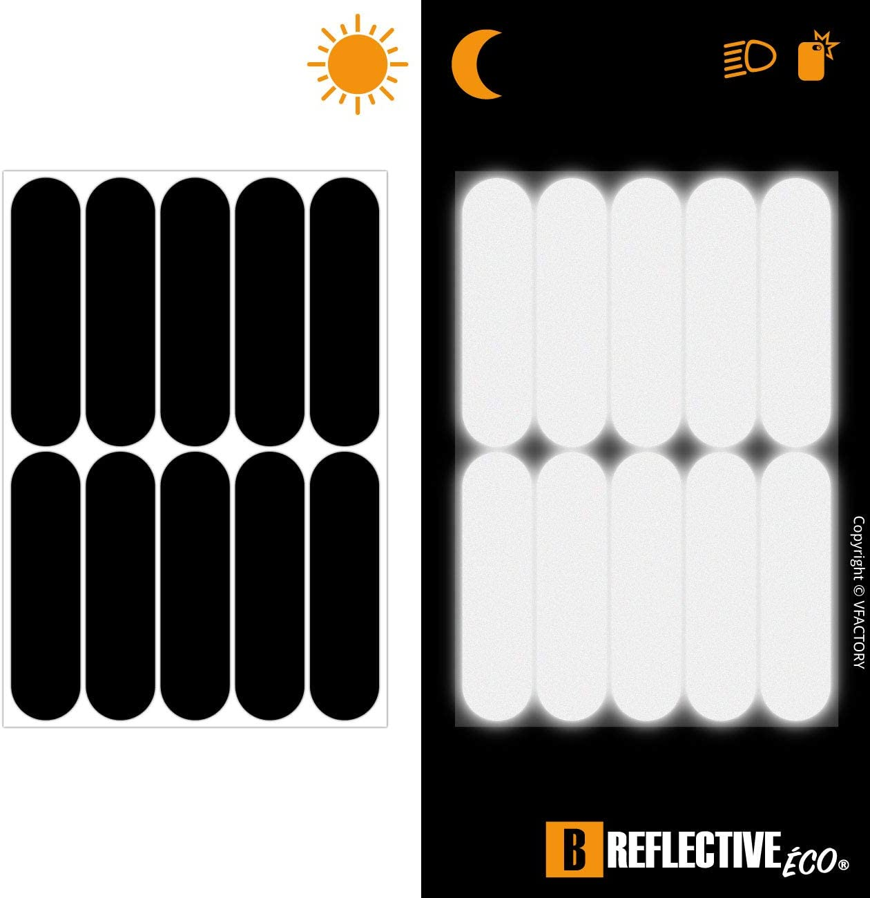 4 Pack Black B REFLECTIVE, 8,5 x 2,3 cm Adhesive for Motorcycle Helmet//Scooter//Bike//Stroller//Buggy//Toys Night visibility safety 4 retro reflective stickers kit