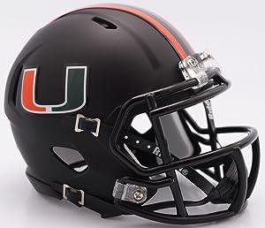 Riddell NCAA Miami Hurricanes Helmet Mini SpeedHelmet Replica Mini Speed Style Miami Nights Design, Team Colors, One Size