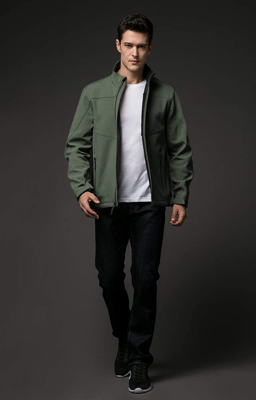 TSLA Mens Softshell Athletic Microfleece Active Wind-Repel Coat Full-Zip Outdoor Water-Proof Jacket
