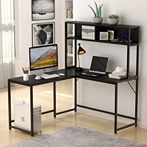 Tribesigns L-Shaped Desk with Hutch,55 Inch Corner Computer Desk Gaming Table Workstation with Storage Shelves Bookshelf for Home Office.Black
