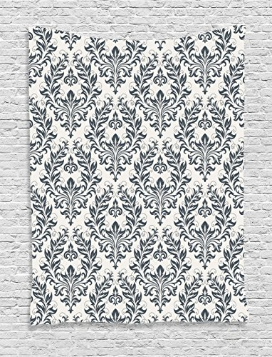 Ambesonne Grey and White Tapestry Victorian Decor by, Floral Ornament Damask Flourishes Classics Silhouette Fancy Symbolic Artwork, Bedroom Living Room Dorm Wall Hanging Tapestry, Grey and (Damask Tapestry)