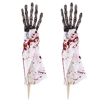 bullstar 1 pair halloween props skeleton hands life size hands for halloween decorations halloween zombie hands