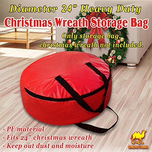 Strong Camel Heavy Duty Christmas Wreath Storage Bag For 24/30-Inch Wreaths