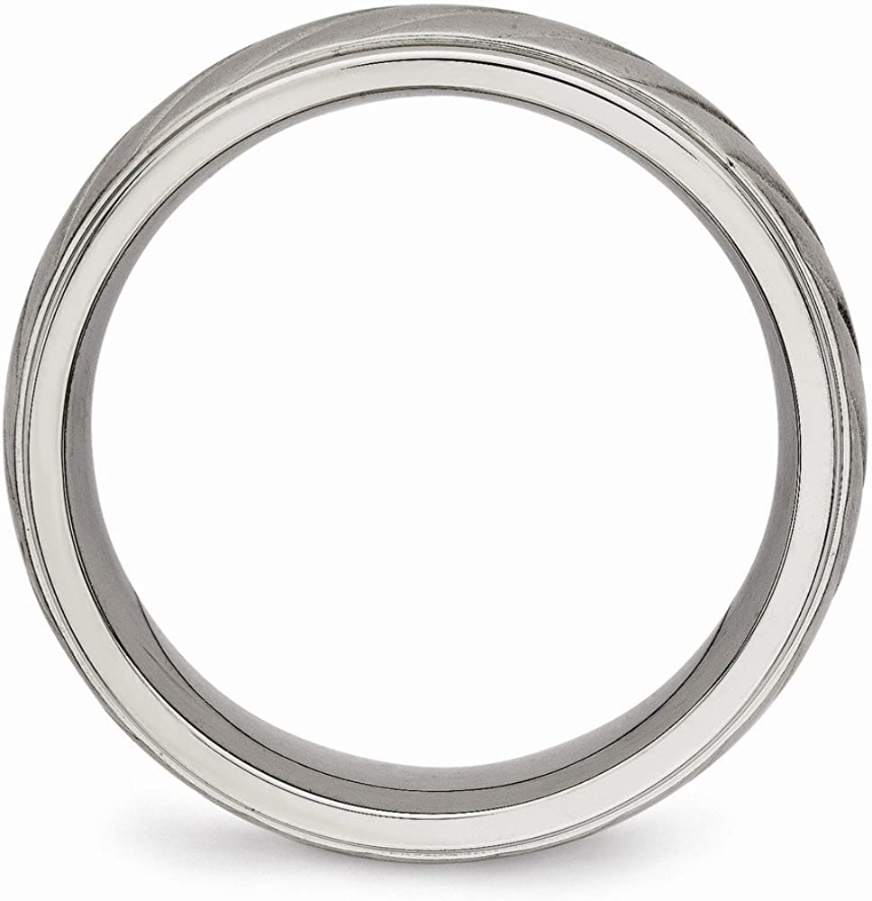 Bridal Wedding Bands Decorative Bands Titanium Brushed and Polished Grooved Ring Size 12.5