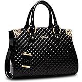 HUOBAO Women's Patent Leather Handbags Designer Totes Purse Satchels Shoulder Handbag Fashion Embossed Top Handle Bags