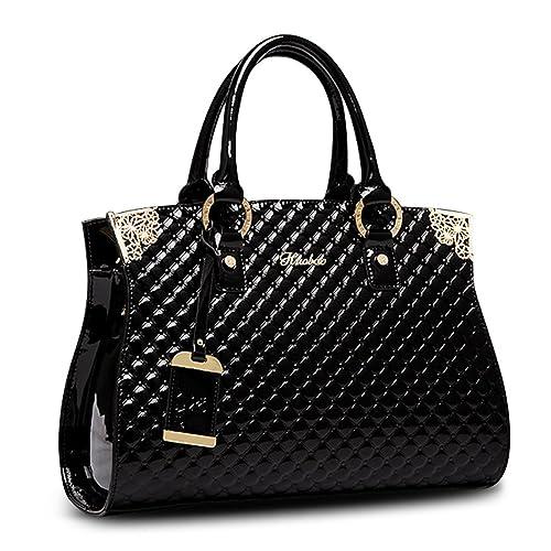 5dee90b72d Amazon.com  Women s Patent Leather Handbags Designer Totes Purse Satchels  Shoulder Handbag Fashion Embossed Top Handle Bags (Black)  Shoes
