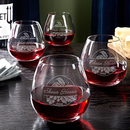 Rhone Valley Personalized Stemless Wine Glasses, Set of 4 (Custom Product)