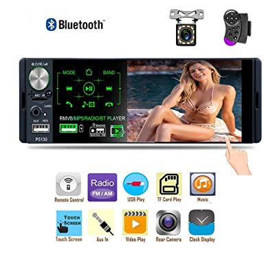 Liehuzhekeji Single Din Car Stereo AM Radio Receiver, 4.1'' TFT Touch Screen Car MP5 Player, Support Bluetooth Aux-in/USB/SD/FM&AM Quick Charge with 12 LED Lights Camera: Car Electronics