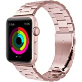 Apple Watch Band 38MM, Evershop iWatch Band Rose Gold Stainless Steel Replacement Watch Strap Wrist Band with Metal Clasp for Apple Watch Series 3 Series 2 Series 1(38mm Rose Gold)