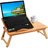 Adjustable Bamboo Laptop Bed Table, Foldable Sofa Breakfast Tray, Portable Standing Desk, Notebook Stand Reading Holder for Couch Floor