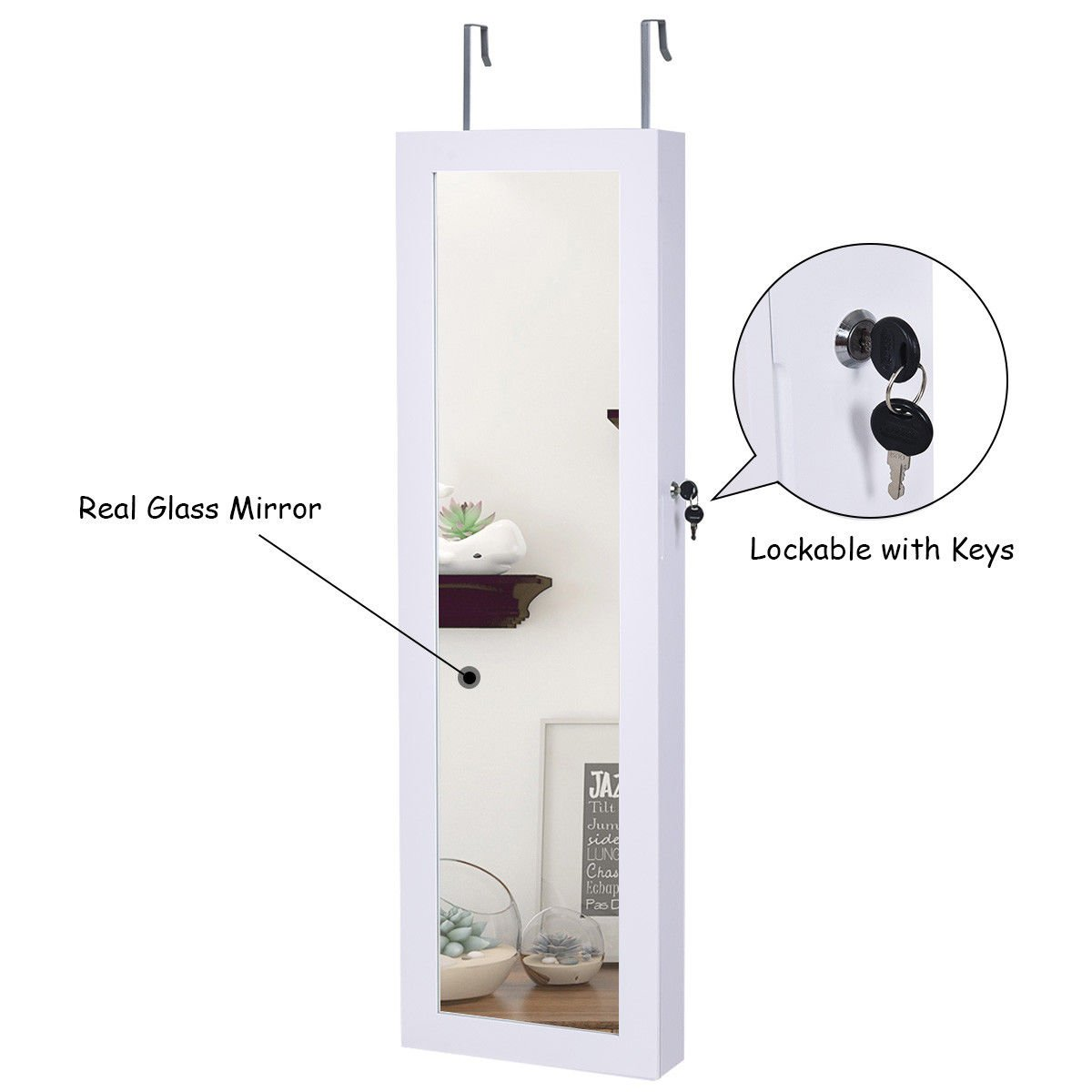 Giantex Wall Door Mounted Jewelry Armoire Organizer with Mirror Locking Organizer with LED Lights by Giantex (Image #7)