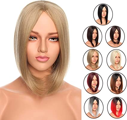 12 Inch Short Bob Wigs Full Wigs Straight Bob Hair Synthetic Heat Resistant Wigs For Women Hair Natural Daily Ash Blonde Sandy Brown Bleach Blonde Amazon Co Uk Beauty