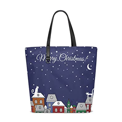 TIZORAX Christmas Cats Houses Stars Moon Beach Tote Bags Travel Totes Bag  Shopping Tote for Women Handbag  Amazon.co.uk  Shoes   Bags fe098f8f13