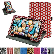 "RCA 10 Viking Pro 10.1 Rotating Case,Mama Mouth 360 Degree Rotary Stand With Cute Lovely Pattern Cover For 10.1"" RCA 10 Viking Pro Tablet,PolkaDot Red"