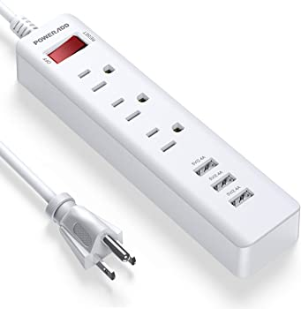 Poweradd 5ft 3 Outlets Power Strip with 3 Fast USB Ports
