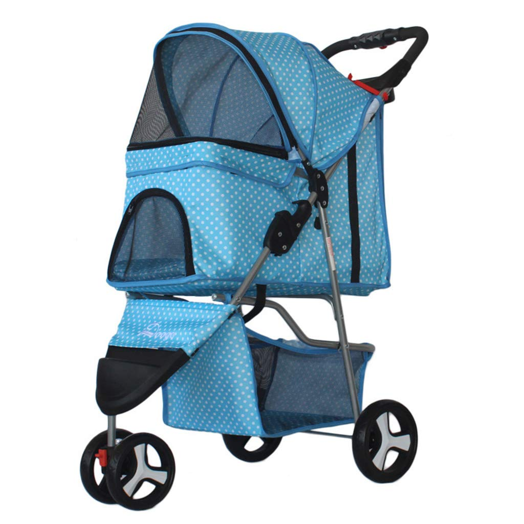 Pet Stroller Foldable Big Space, Lightweight Pet Travel Stroller, 1 Swivel Wheels Multifunction Pushchair Pram Jogger for Puppy Cat Pets,K
