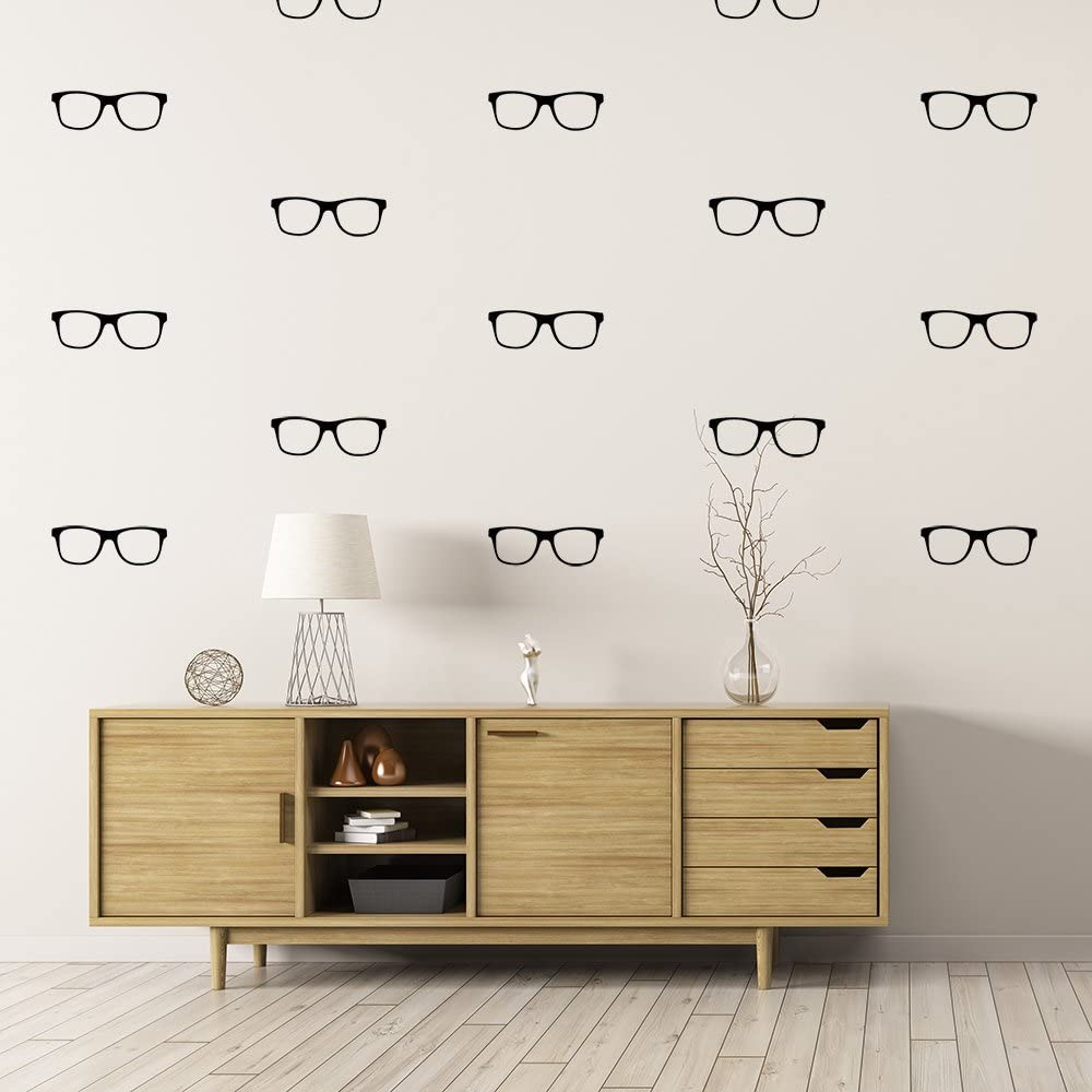 Littledollz Set of 50 Pairs of Glasses Spectacles Geek Chic Wall Stickers Wall Pattern Decals Optometrist Eyeglasses Vision Looking Glass