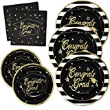 Toys : Gift Boutique Graduation Plates and Napkins 2018 for 50 Guests Disposable Dinnerware Set in Black and Gold Foil for Party Supplies Decorations