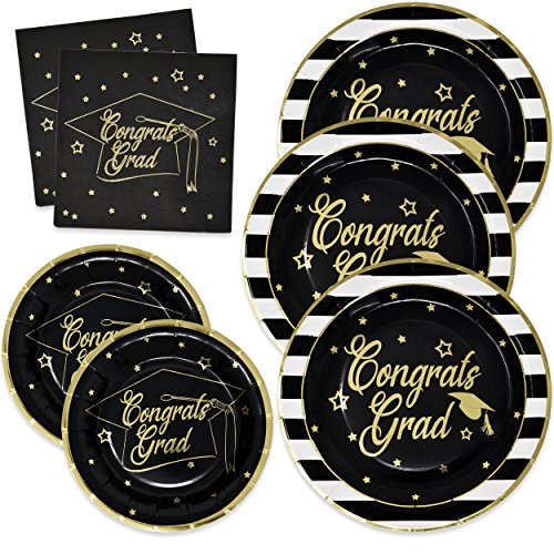 Gift Boutique Graduation Plates and Napkins 2019 for 50 Guests Disposable Dinnerware Set in Black and Gold Foil for Party Supplies Decorations - Perfect Invitations Party Picture