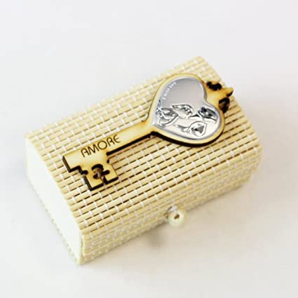 dlm26282 caja para Confetti de bambu Llave Suerte alianzas boda boda BOMBONIERA