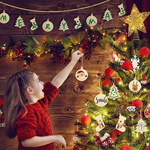 40Pcs Wooden Christmas Hanging Ornaments DIY Craft ...