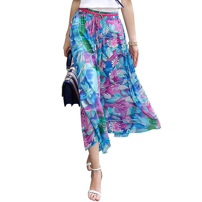 437d53591e907 ZKOOO Ladies Chiffon Midi Skirts Women Floral Printed Boho Skirts ...