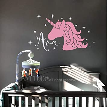 Amazon.com: Unicorn Wall Decal Girl Name Wall Decal Girls ...