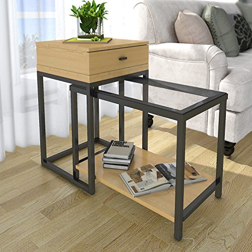 Locker Room Style Nightstand (Lifewit 2-Piece End Table / Nesting Sofa Side Table Set / Coffee Accent Table with Drawer)