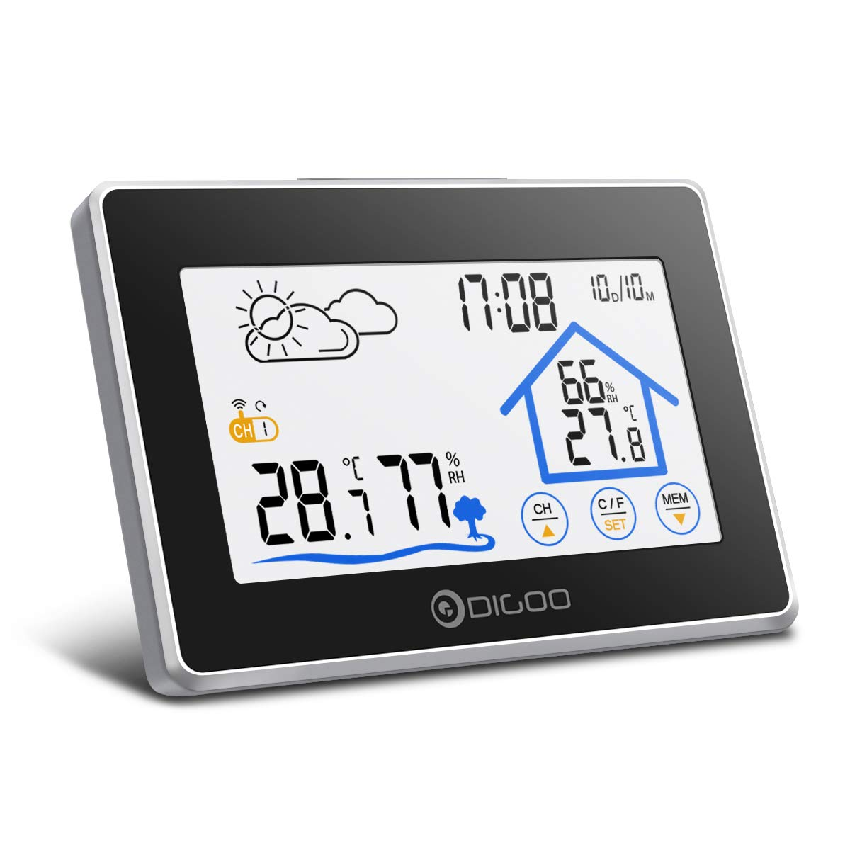 DIGOO Wireless Weather Station, DG-TH8380 In&Outdoor Thermometer Hygrometer with Touch Screen, Outdoor Sensor, Weather Forecast, Alarm Clock Snooze Function for Home, Bedroom, Office Viceirye DIGOOviceirye1181