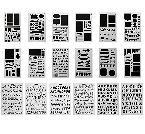 MAGICMAI Bullet Journal Stencil Plastic Planner Stencils and Alphabet Stencil Letter Stencil Templates Set for Journaling/Notebook/Drawing Graffiti/Scrapbook DIY Painting and Crafts