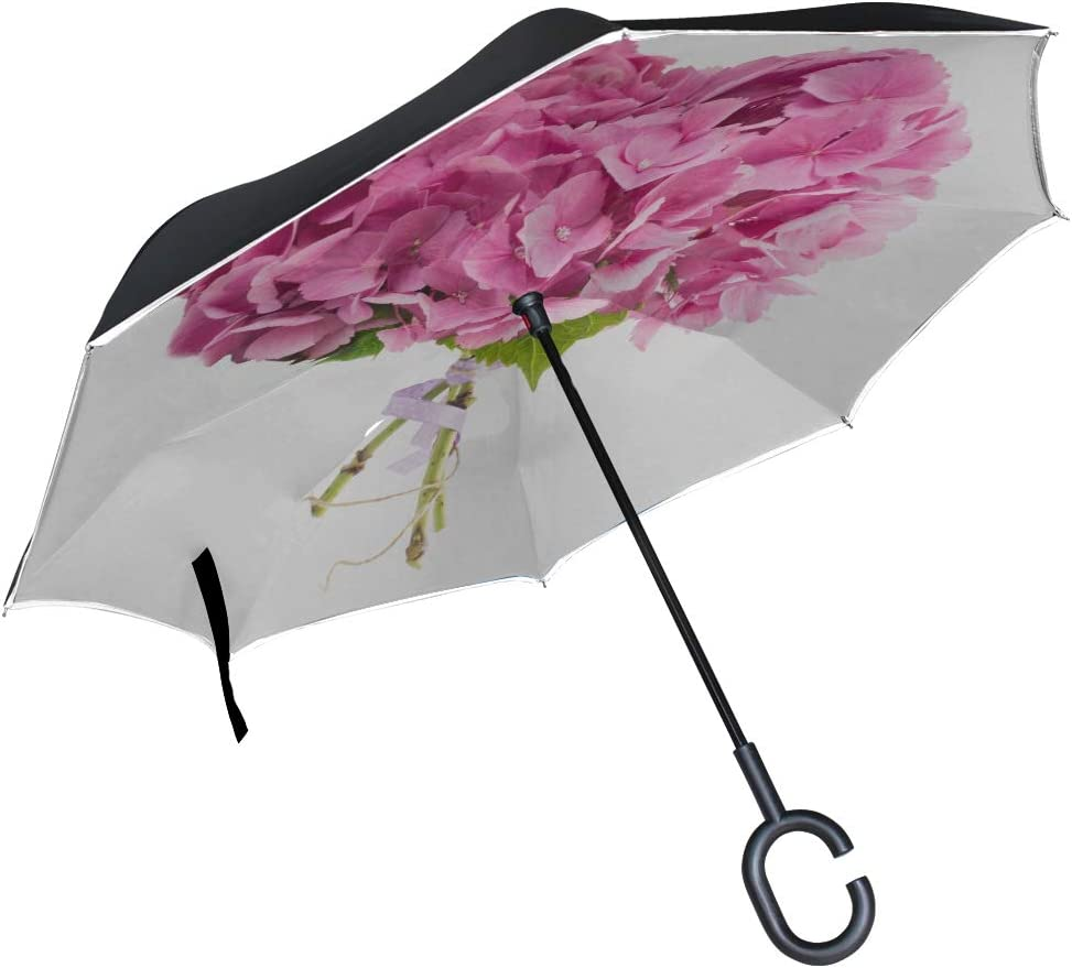 Double Layer Inverted Inverted Umbrella Is Light And Sturdy Heart Shape Hydrangea Bunch Reverse Umbrella And Windproof Umbrella Edge Night Reflection