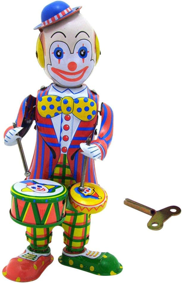 STOBOK Mesa Payaso Juguete Hojalata Enrollar Figura Juguete Tamborileo Payaso Muñeca Figura Decorativa Juguete Regalo para Niños Niños Oficina en Casa