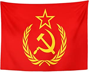 Emvency Tapestry Red Soviet CCCP Symbol Hammer Sickle Star and Wreath Yellow Union Communism Home Decor Wall Hanging for Living Room Bedroom Dorm 60x80 Inches