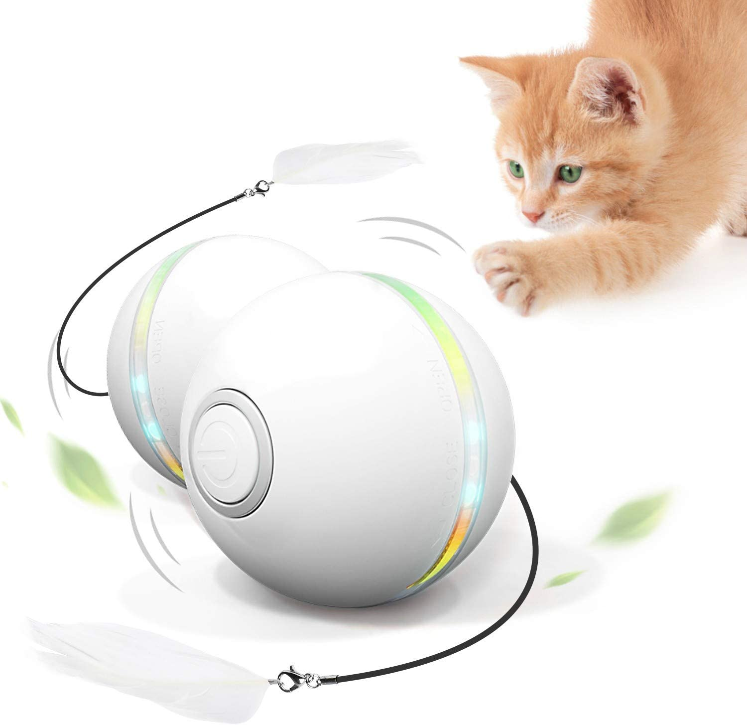 Feeko Interactive Cat Toys for Indoor Cats, Automatic Rolling Kitty Toys, Build-in Catnip Spinning Color Led Light, USB Charging Timing Motion Ball with Feather/Bells Toys for Cats/Kitten (White) : Pet Supplies