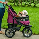 Best Pet Strollers (Boysenberry) Double No-Zip Prams For Carrier Folding 3 Wheels Cat & Dog Travel Strolling Carriage Cart