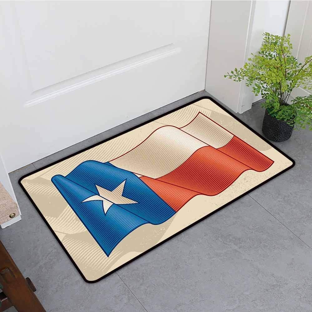 Felpudo antideslizante, Texas Star Batiendo la bandera de Texas Patrón de estrella solitaria con efecto retro Americana, Lavable a máquina / Antideslizante, Alfombra de baño azul bermellón beige: Amazon.es: Hogar