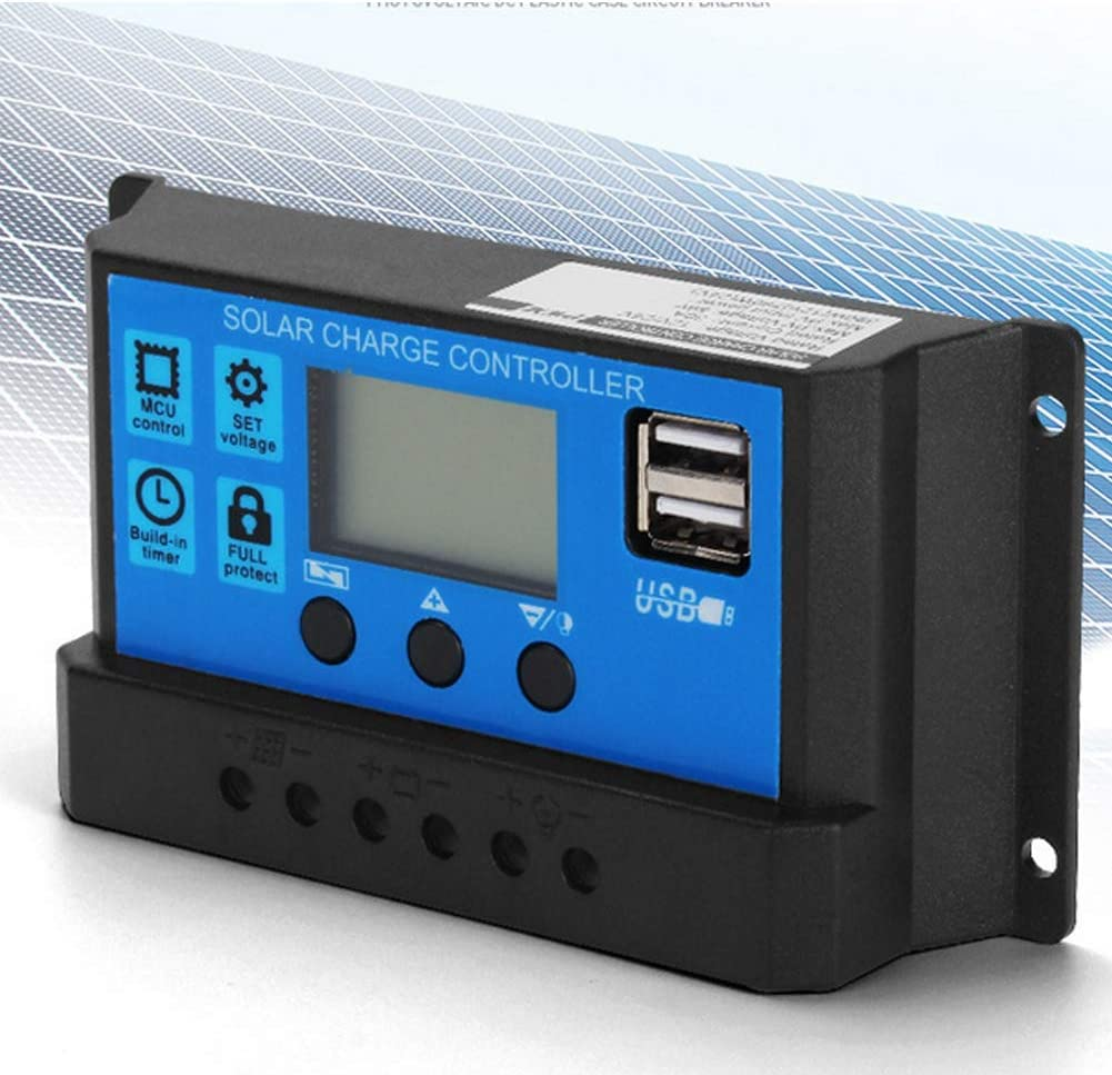 30A Hlyjoon Car 60A//50A//40A//30A//20A//10A 12V 24V Auto Solar Charge Controller PWM Controller Fits for Auto
