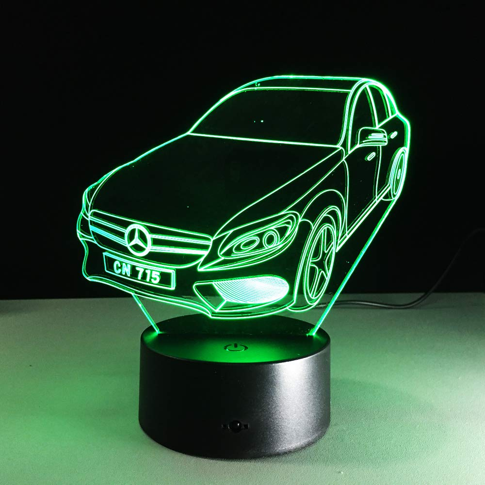 USB Powered 7 colori Lampeggiante Touch Switch Camera da letto Decorazione Illuminazione per bambini Regalo di Natale 3D Illusion Lampada Led Night Light Mercedes-Benz Berlina