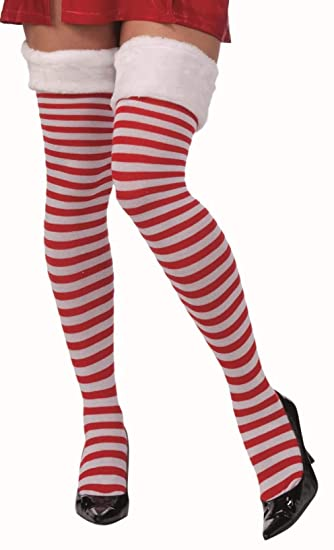 206e4ed394071 Forum Novelties Women's Christmas Thigh Highs with Fur Trim, Red/White, One  Size