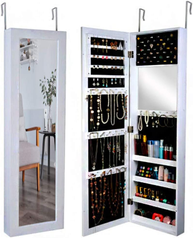 GLS White Wall Mount Full Length Mirror Jewelry Armoire Makeup Cabinet Storage