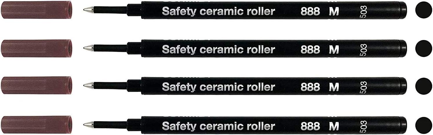 2 X Schwarz Schmidt Mine 888 F Sicherheits Keramik Roller Kugelschreiber