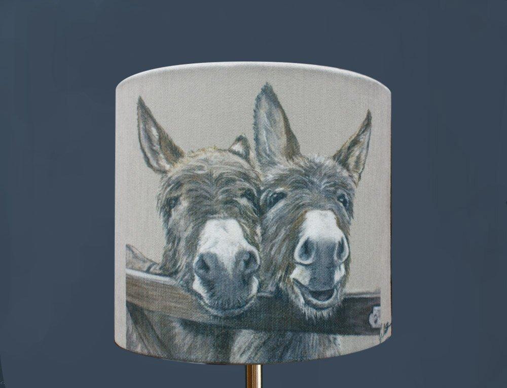 Donkeys Over Gate Lampshade by Irish Artist Grace Scott