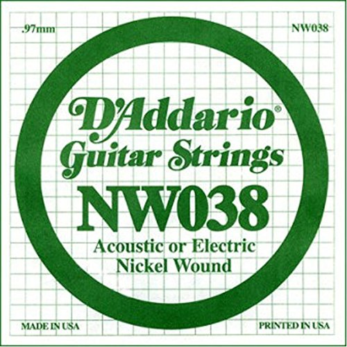D'Addario NW038 Nickel Wound Electric Guitar Single String,