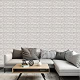 White 3D Foam Brick Wallpaper Wall Tiles Panels Peel Stick by POPPAP 12 Tiles
